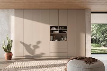 Noteborn Essential inbouwkast op maat met deuren en laden, decor warmgrijs, greeploos push-to-open