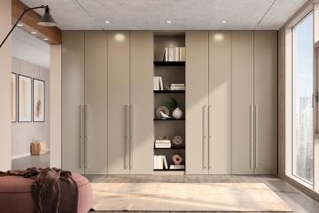 Noteborn Essential inbouwkast op maat met deuren en open vakken, decor stofgrijs
