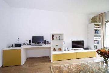 Dall'Agnese Speed&Slim skyline met kastje, bureau, lowboard en hoge kast, lak RAL9010 en RAL1024