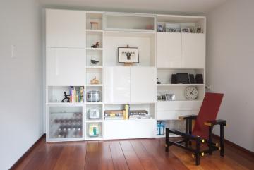 Dall'Agnese Speed wandkast met matglas deuren, deuren en laden hoogglans wit gelakt