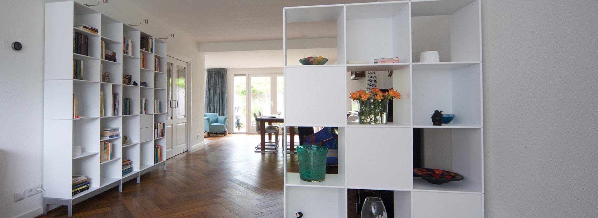 ABC Quadrant boekenkast en roomdivider, lak zuiverwit