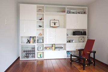 DallAgnese-Speed-wandkast-met-matglas-deuren-deuren-en-laden-lak-hoogglans-wit-360
